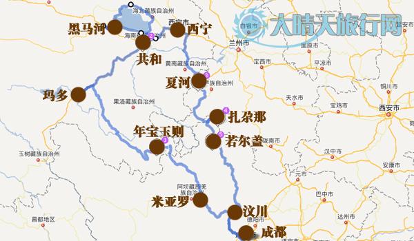 青海旅行手绘地图